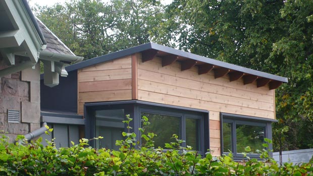 the western red cedar used to clad the building was sourced from the knoydart peninsula from trees toppled during last years storms